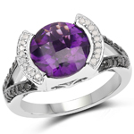 3.24 Carat Genuine Amethyst, Black Diamond and White Diamond .925 Sterling Silver Ring
