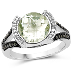 3.59 Carat Genuine Green Amethyst, Green Diamond and White Diamond .925 Sterling Silver Ring