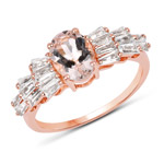14K Rose Gold Plated 2.28 Carat Genuine Morganite and White Topaz .925 Sterling Silver Ring