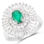 2.80 Carat Genuine Emerald and White Topaz .925 Sterling Silver Ring