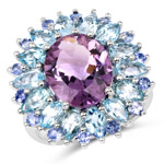 7.79 Carat Genuine Amethyst, Blue Topaz and Tanzanite .925 Sterling Silver Ring