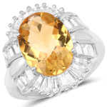 6.55 Carat Genuine Citrine and White Topaz .925 Sterling Silver Ring