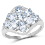 1.79 Carat Genuine Aquamarine and White Topaz .925 Sterling Silver Ring