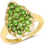 14K Yellow Gold Plated 1.71 Carat Genuine Chrome Diopside .925 Sterling Silver Ring