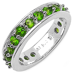1.33 Carat Genuine Chrome Diopside .925 Sterling Silver Ring