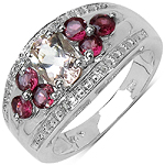 1.50 Carat Genuine Morganite, Rhodolite & White Topaz .925 Sterling Silver Ring
