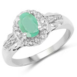 0.68 Carat Genuine Emerald and White Topaz .925 Sterling Silver Ring