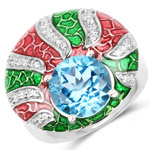 4.74 Carat Genuine Swiss Blue Topaz and White Cubic Zirconia .925 Sterling Silver Ring
