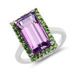 6.15 Carat Genuine Amethyst and Chrome Diopside .925 Sterling Silver Ring