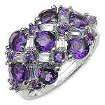 3.79 Carat Genuine Amethyst & White Cubic Zirconia .925 Sterling Silver Ring