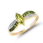14K Yellow Gold Plated 0.69 Carat Genuine Peridot, Chrome Diopside and White Topaz .925 Sterling Silver Ring