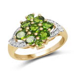 14K Yellow Gold Plated 1.47 Carat Genuine Chrome Diopside .925 Sterling Silver Ring
