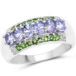1.34 Carat Genuine Tanzanite and Chrome Diopside .925 Sterling Silver Ring