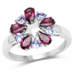 1.70 Carat Genuine Rhodolite and Tanzanite .925 Sterling Silver Ring