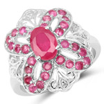2.12 Carat Glass Filled Ruby and Ruby .925 Sterling Silver Ring