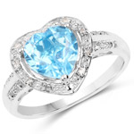 2.14 Carat Genuine Swiss Blue Topaz and White Topaz .925 Sterling Silver Ring