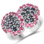2.30 Carat Genuine Ruby and Blue Sapphire .925 Sterling Silver Ring
