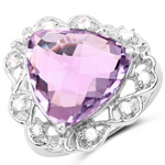 8.86 Carat Genuine Amethyst and White Zircon .925 Sterling Silver Ring