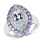 2.30 Carat Genuine Aquamarine and Tanzanite .925 Sterling Silver Ring