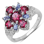 2.04 Carat Genuine Rhodolite & Iolite .925 Sterling Silver Ring