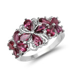 2.88 Carat Genuine Rhodolite .925 Sterling Silver Ring