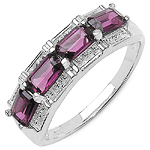 1.44 Carat Genuine Rhodolite .925 Sterling Silver Ring