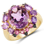 14K Yellow Gold Plated 5.25 Carat Genuine Amethyst, Rhodolite and Blue Diamond .925 Sterling Silver Ring