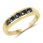 14K Yellow Gold Plated 0.80 Carat Genuine Blue Diamond .925 Sterling Silver Ring