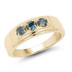 14K Yellow Gold Plated 0.33 Carat Genuine Blue Diamond .925 Sterling Silver Ring