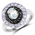 1.77 Carat Genuine Aquamarine, Black Spinel and Tanzanite .925 Sterling Silver Ring