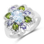 2.84 Carat Genuine Blue Topaz, Chrome Diopside and Tanzanite .925 Sterling Silver Ring