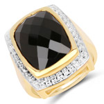 14K Yellow Gold Plated 11.00 Carat Genuine Black Onyx .925 Sterling Silver Ring