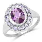 2.53 Carat Genuine Amethyst and Tanzanite .925 Sterling Silver Ring