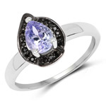 0.70 Carat Genuine Tanzanite and Black Spinel .925 Sterling Silver Ring