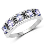 0.93 Carat Genuine Tanzanite and Black Spinel .925 Sterling Silver Ring