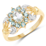 14K Yellow Gold Plated 0.83 Carat Genuine Aquamarine and London Blue Topaz .925 Sterling Silver Ring