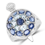 3.40 Carat Genuine Aquamarine and Blue Sapphire .925 Sterling Silver Ring