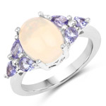 2.60 Carat Genuine Opal and Tanzanite .925 Sterling Silver Ring