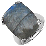 17.10 ct. t.w. Labradorite and White Topaz Ring in Sterling Silver