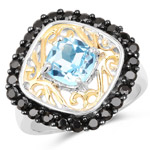Two Tone Plated 2.85 Carat Genuine Swiss Blue Topaz and Black Spinel .925 Sterling Silver Ring