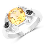 2.01 Carat Genuine Citrine and Black Spinel .925 Sterling Silver Ring