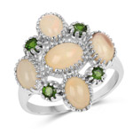 2.03 Carat Genuine Ethiopian Opal and Chrome Diopside .925 Sterling Silver Ring