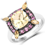 2.76 Carat Genuine Citrine and Rhodolite .925 Sterling Silver Ring