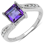 1.38 Carat Genuine Amethyst & White Cubic Zirconia .925 Sterling Silver Ring