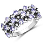 1.66 Carat Genuine Tanzanite and White Topaz .925 Sterling Silver Ring