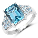 4.56 Carat Genuine London Blue Topaz and Swiss Blue Topaz .925 Sterling Silver Ring