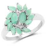 1.26 Carat Genuine Emerald .925 Sterling Silver Ring
