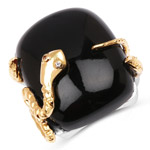 21.04 Carat Genuine Black Onyx and White Topaz .925 Sterling Silver Ring