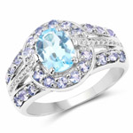 2.17 Carat Genuine Swiss Blue Topaz and Tanzanite .925 Sterling Silver Ring