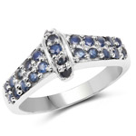 0.88 Carat Genuine Blue Sapphire .925 Sterling Silver Ring